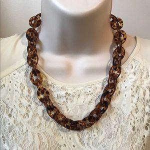 tortoise shell lucite link necklace adjustable
